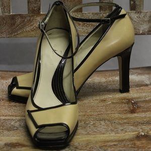 Enzo Angiolini Tan & Brown Ankle Strap Heels